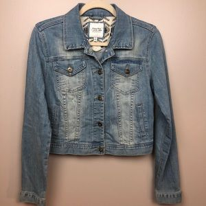 Forever 21 I Love H81 Light Denim Jacket Size Lg
